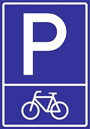 Kiwistar Parkplatzschild - 21 x 15cm Fahrrad Piktogramm PVC