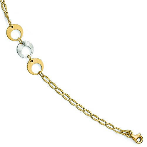 Poli 14carats Bicolore avec 2,5cm ext. Bracelet de cheville-25,4cm-16