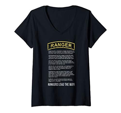 (Womens The Ranger Creed Vintage Army Ranger RLTW Military V-Neck T-Shirt)