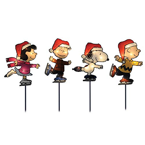 ProductWorks 10325 8-Inch Pre-Lit Peanuts Skating Christmas Pathway Markers (Set of 4) Holiday Decor, Incandescent