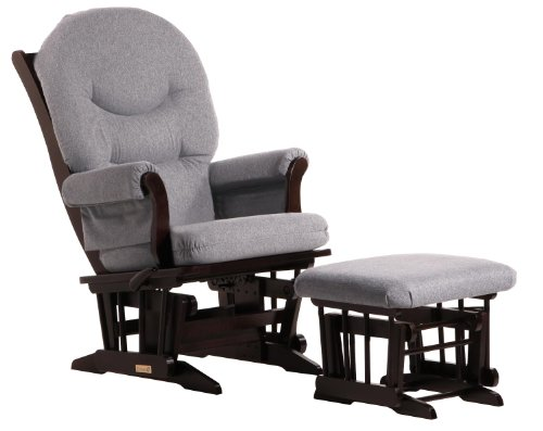 Dutailier Sleigh Glider-Multi-Position Recline and Nursing Ottoman Combo, Espresso/Dark Grey