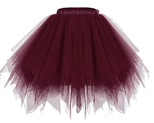Bridesmay Women's Tutus Tulle Skirt 50s Vintage Petticoat Ballet Bubble Skirts Burgundy S -