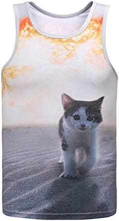 タンクトップ メンズ おしゃれ タンクトップ スポーツ リアル 3d プリント 猫 ノースリーブ カットソー スウェット ネコ 柄 デザイン