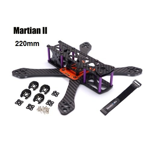 Carbon Fiber Frame Kit Reptile Martian II 220/250 with 4mm Thickness Arm Frame Kit + Power Distribution Board (Martian II 220mm)