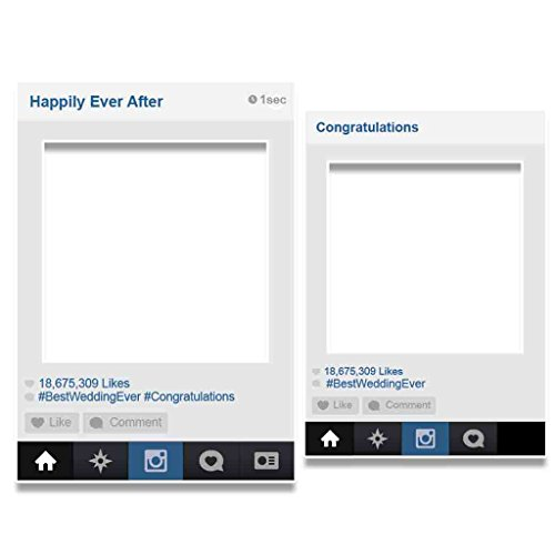 VictoryStore Photo Booth Frame - Social Media Frame Wedding Photo Booth Set of 2 (Cut Frame Out Photo)
