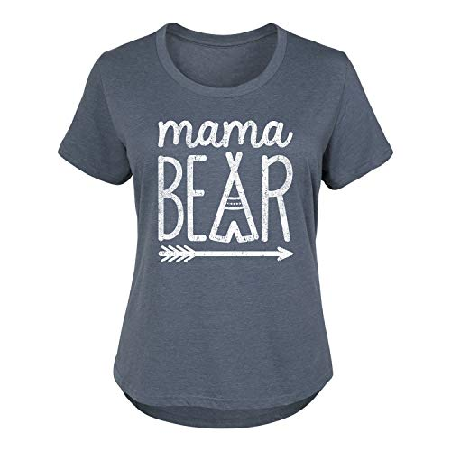 - Mama Bear - Ladies Plus Size Scoop Neck Tee Heather Blue