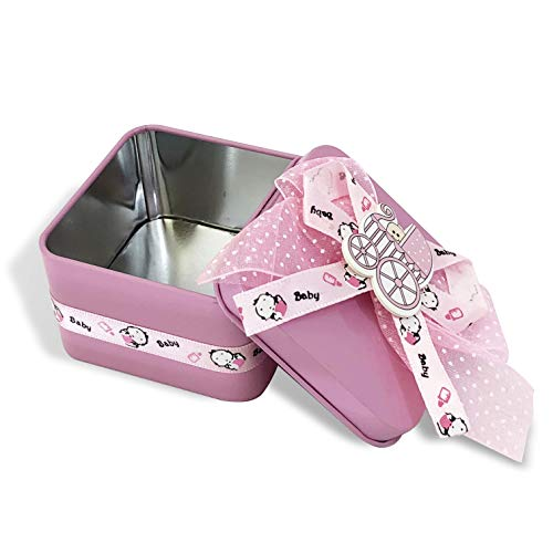 Allgala 12-PK Party Favor Container Square Tin Box, Baby Shower Pink with Bows and Stroller Decoration
