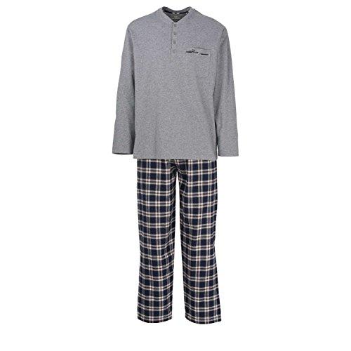 GÖTZBURG Herren Pyjama, langarm, Baumwolle, Flanell, blau, kariert