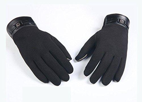 (FAPIZI Winter Mens Full Finger Smartphone Touch Screen Cashmere Gloves Mittens (Black))