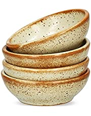 Cookery House Set of 4 Ceramic Soy Sauce Dish (3 Inch) for Sushi Dip, Condiment, Salt & Spice Prep - Small Japanese Bowls Pinch Cups for Dipping, Serving, Cooking