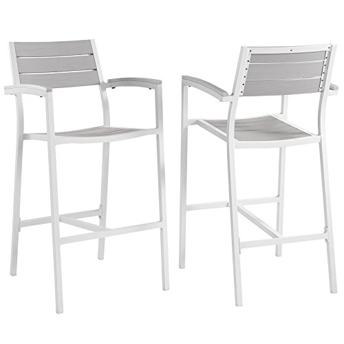 Modern Urban Contemporary Bar Stool Outdoor Patio Set of 2, White Light Grey Steel