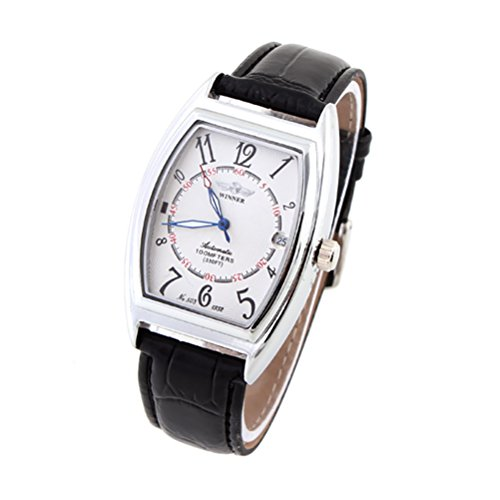 GuTe Classic Tonneau Mechanical Wristwatch Unisex Automatic Luminous Hands Date