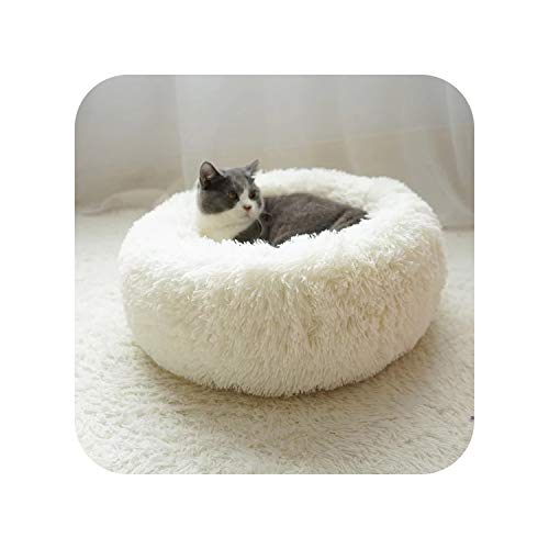 Dog Bed 4 Sizes Round Pet Lounger Tyteps Cushion for Medium Large Dogs & Cat Winter Dog Kennel Puppy Mat Ped Bed,White,Diameter ()