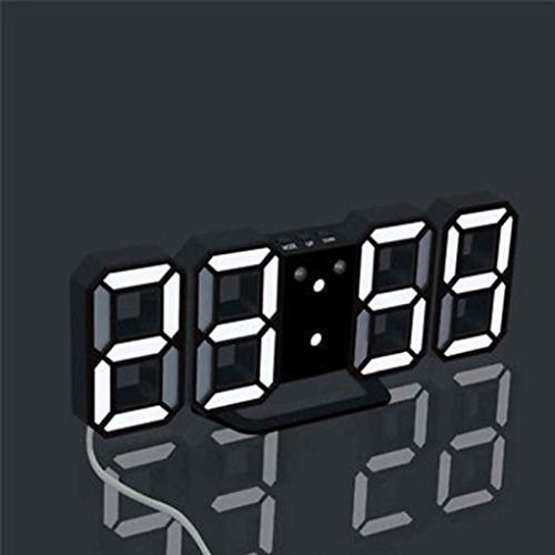 Yeefant 3 Color Digital LED Table Night Snooze Function Wall Clock Alarm Watch 24 Or 12 Hour Display for Living Room Bedroom by Yeefant Decorative Clock