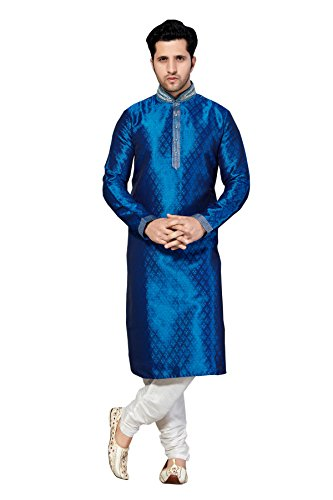 Brocade Kurta - Men's Brocade Kurta Pajama Set in Royal Blue