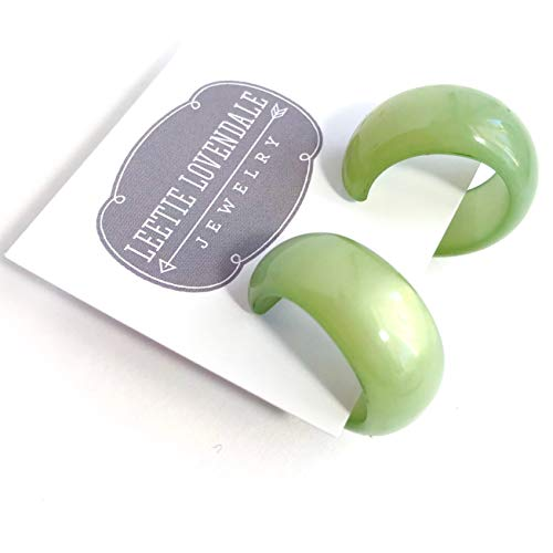 Sea Glass Green Moonglow Lucite Bold Haskell Hoop Earrings