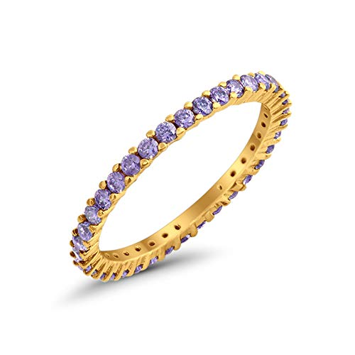 - Blue Apple Co. 2mm Full Eternity Wedding Band Round Simulated Amethyst Yellow Tone 925 Sterling Silver, Size - 7