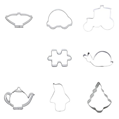 9 Pieces Cookie Cutter Biscuit Christmas Tree Penguin Pot Kettle Snail Jigsaw Puzzle Deer Float Mini Car Cup Teapot ()