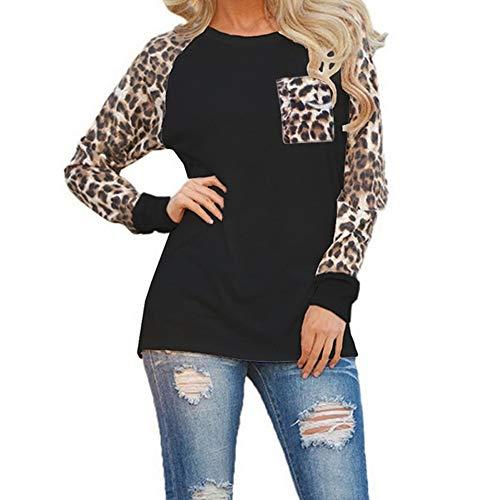 OMSJ Plus Size Tops, Womens Casual Long Sleeve Leopard Pocket Color Block T-Shirt (Black, XXXL) (Print Christmas)