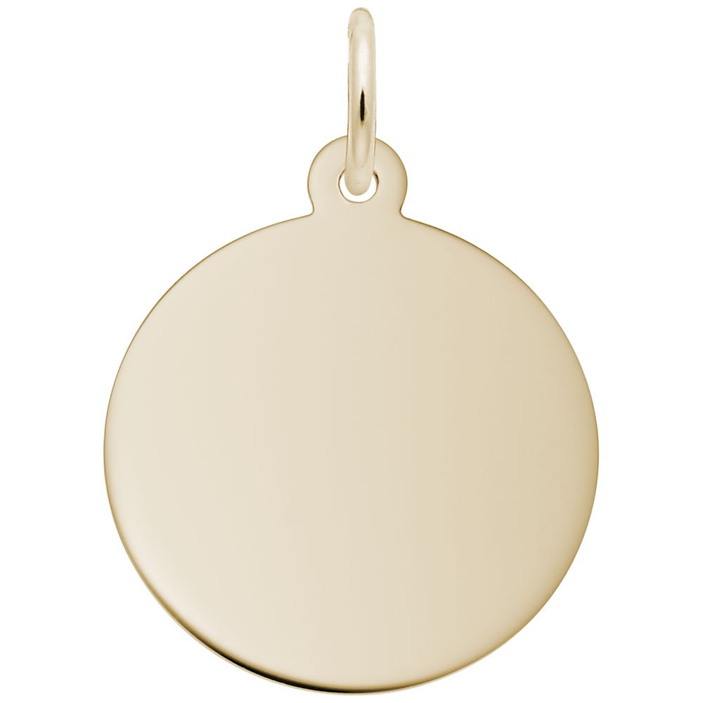 10k Yellow Gold Classic Style Disc Charm Charms for Bracelets and Necklaces