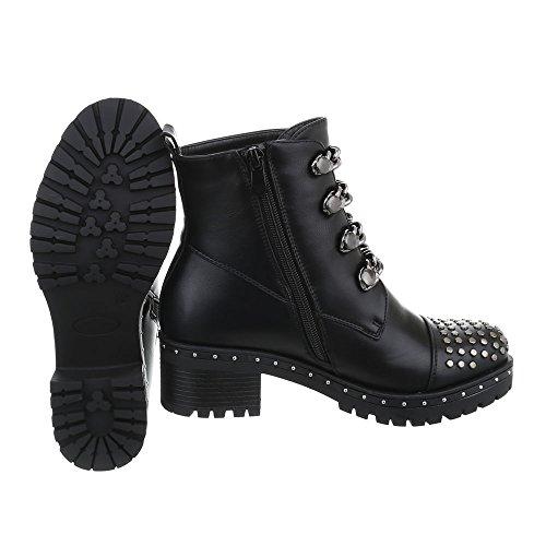 Ital Negro Zapatos Tacón 2769 Camperos para Botas Mujer Botines Design Ancho zzqrwP