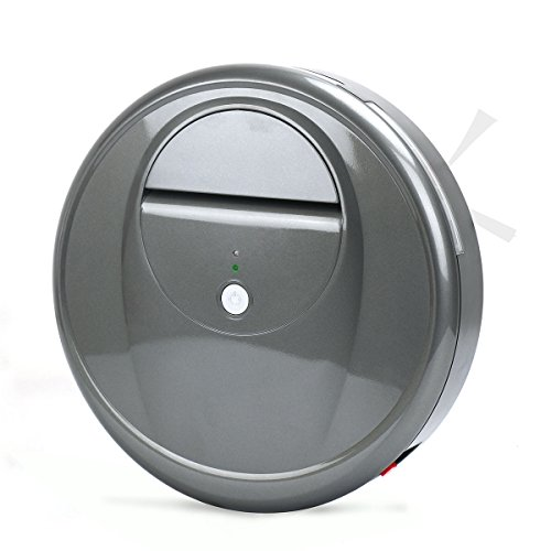 EVERTOP Robotic Vacuum Sweeper, Smart Robotic Vacuum Cleaner with Drop-Sensing Technology and Powerful Suction for Hard Surface Floors & Thin Carpets, Grey