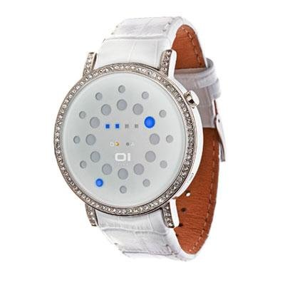 One Rage Odins Stones - 01TheOne Women's ORS504B1 Odins Rage Crystal Accented Blue LED Leather Watch