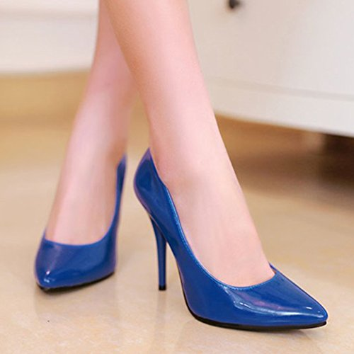 Aisun Womens Pointy Toe Low Cut Dress Sexy Slip On High Stiletto Heels Party Wedding Pumps Shoes Blue FWfxeJoO