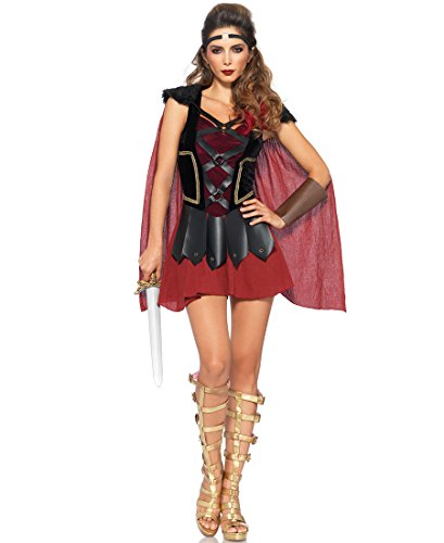 [Leg Avenue 85411 Trojan Warrior Halloween Costume - Black/Burgu - Small/Medium] (Trojan Halloween Costumes)
