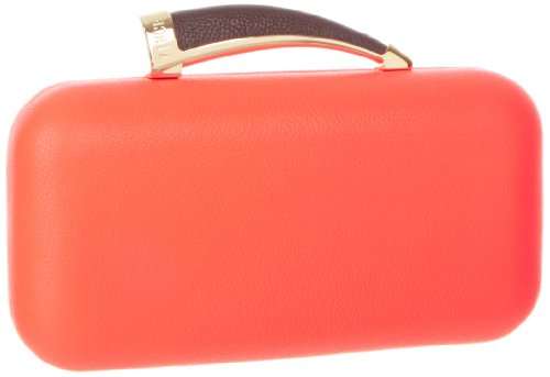 Vince Camuto Horn Leather Clutch,Fiery Coral,One Size, Bags Central