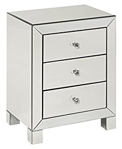 Lovely AVE SIX Reflections 3 Drawer Accent Table, Silver Mirrored Finish