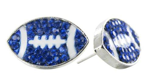 - Flat Football Rhinestone Stud Earrings - Royal Blue Crystal Football with White Enamel Stripes