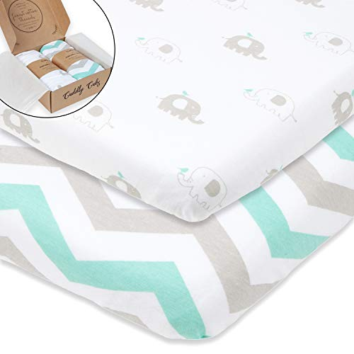 Bassinet Sheets Set 2 Pack for Boy & Girl by Cuddly Cubs | Soft & Breathable 100% Jersey Cotton | Fitted Elastic Design | Mint & Grey Chevron & Elephants | Fits Oval, Halo, Chicco Lullago, Arms Reach by Cuddly Cubs