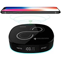 Qi Wireless Power Bank 10000mAh, iPhone X Wireless Battery Charger, SONGCHUANG LED Display Portable Wireless Charger Output 5A External Battery Pack for iPhone 8/8 Plus,Samaung S7 S8 , Note 7 8