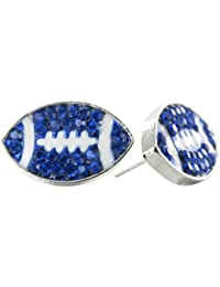Flat Football Rhinestone Stud Earrings - Royal Blue Crystal Football with White Enamel Stripes by RUL