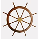 Very Large Hardwood Ships Wheel with Brass Trim 48""