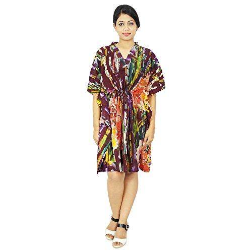 India Boho algodón Kaftan hippy más el tamaño de Caftán African Beach Cover Up regalo para las mujeres Multicolor-4