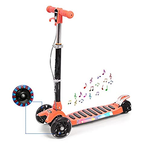 Adjustable Foldable Kick Scooter Mini T-Bar 3 Wheel Kickboard Scooter Tretroller with Music and LED Light Up Wheels for Boys Girls Children Kids Blue (3-14 Years) - Has Wheels