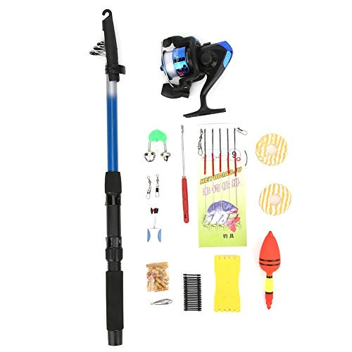 Alomejor 1.8M Fishing Rod Suit Portable Fishing Wheel Fisherman Beginners Telescopic Rod Kit Telescopic Fishing Pole(Plastic Fishing Reel)