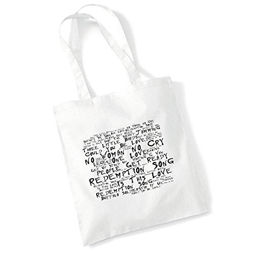 100% Baumwolltasche - BOB MARLEY - Legend - Noir Paranoiac - Weiß 42 x 38 cm Tragetasche Musik Song Lyrisch Album Kunstdruck Plakat Wiederverwendbare Tote Strand Festival Einkaufend Tasche für Leben G