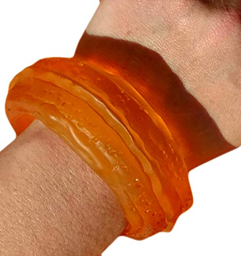 Lucite Bead Bracelet - Orange Sea Glass Look Lucite Cuff Chunky Statement Bracelet for Women