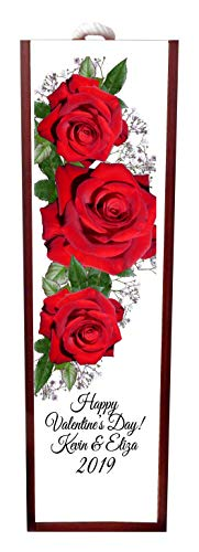 Jacks Outlet Happy Valentine's Day! - Red Roses Wine Box Personalized - Wine Box Rosewood with Slide Top - Wine Box Holder - Wine Case Decoration - Wine Case Wood - Wine Box Carrier ()