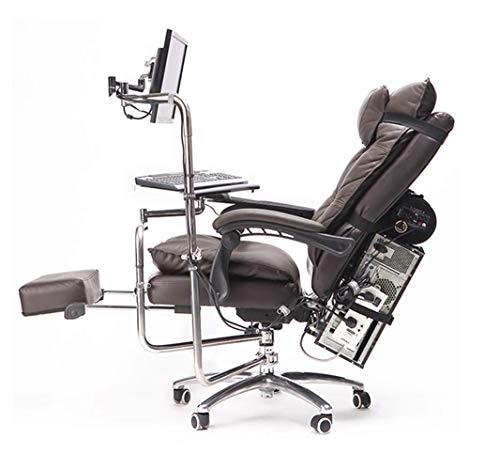 Juego ergonomico Silla de Oficina Respaldo Alto Sillon Estilo de Carreras Diseno reclinable Altura Ajustable con reposapies y sillon reclinable Lumbar
