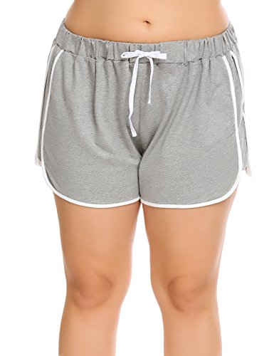 IN'VOLAND Women Dolphin Shorts Plus Size Running Short for Workout Gym Sports Active Yoga Grey