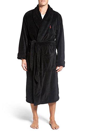 Polo Ralph Lauren Microfiber Robe One Size (Polo Black/Avenue Red)