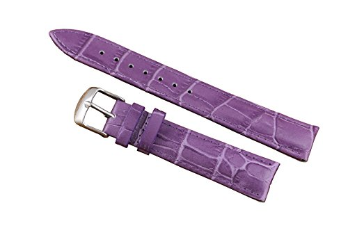 12mm Purple Luxury Thick Leather Watch Bands Strap Replacement for Women Moderate Padding Genuine (Purple Alligator Watch)