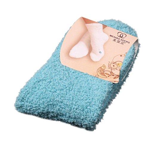 (Women Teen Girls Winter Warm Fluffy Soft Coral Velvet Crew Socks Fuzzy Casual Sock 1Pairs (Sky Blue) )