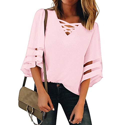 Zlolia Women's Solid Color Cut Half Sleeve Long T-Shirt V-Neck Strap Pullover Summer Fashion Casual New Top Blouses Pink