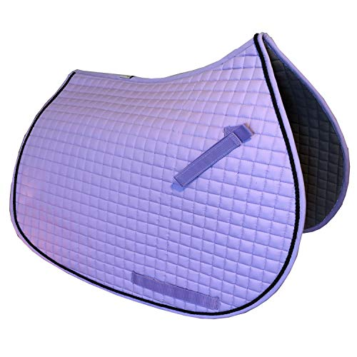 (PRI Pacific Rim International All-Purpose English Saddle Pads for Horses (Lavender w/#7 Black Accent Rope Cord) )