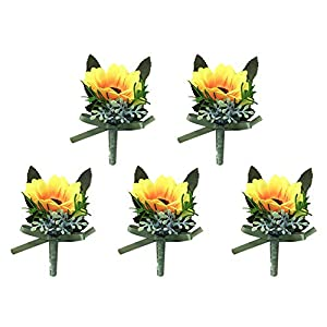Cratone Prom Flower Boutonniere Cloth Sunflower Boutonniere Corsage Men Groom Flowers Brooch with Pin Wedding Prom Graduation Party for Marriage Accessories 20